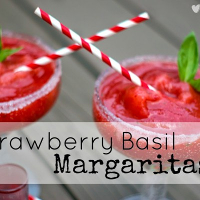 Fresh Strawberry Basil Margaritas