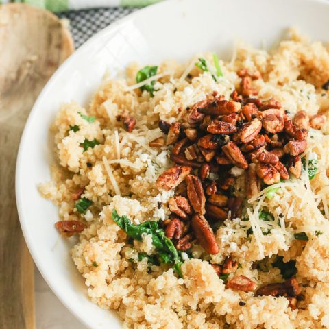parmesan spinach toasted pecan quinoa