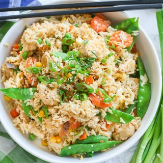 chicken fried rice in white bowl