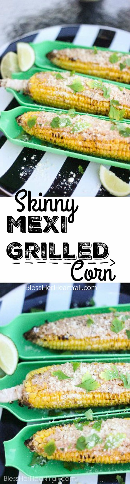 This skinny mexi grilled corn is amazing! Between the yummy spices and greek yogurt instead of fattening butter, this corn on the cob can't get any better! www.blessherheartyall.com