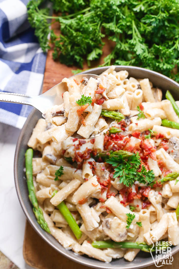 Bacon and Mushroom Pasta Gluten-Free