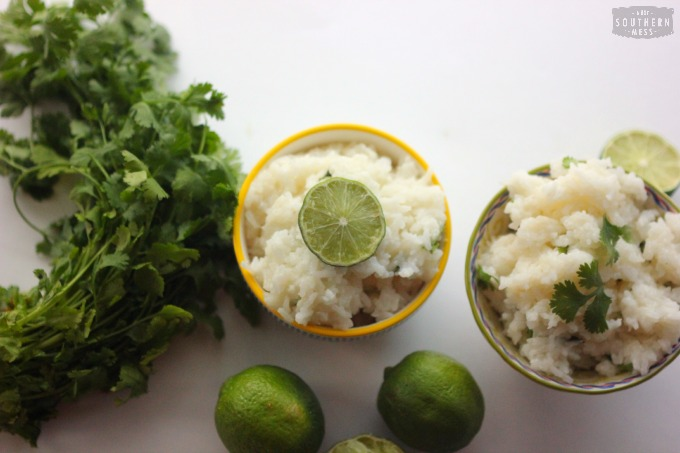 10 minutes to make this delicious garlic cilantro lime rice. This recipe is perfect for quick and easy weeknight meals! www.ahotsouthernmess.com