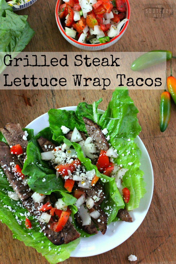 A fresh, fast, healthy recipe for grilled flank steak lettuce wrap tacos. This skinny recipe is so quick and easy to make. This gluten-free recipe is at: www.ahotsouthernmess.com #glutenfree
