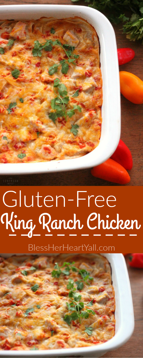 This is the best king ranch chicken casserole and it's also gluten-free! You have to try this gluten free dish out! www.blessherheartyall.com