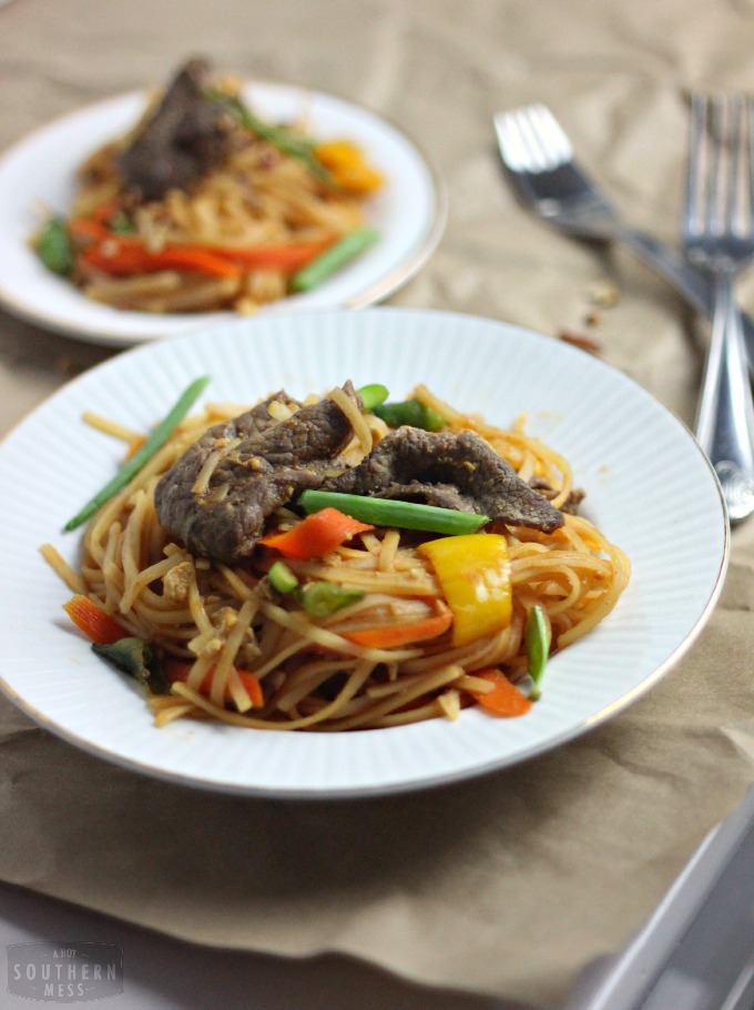 This is the best spicy beef pad thai! It's better than takeout and takes less than 20 minutes to make! www.ahotsouthernmess.com