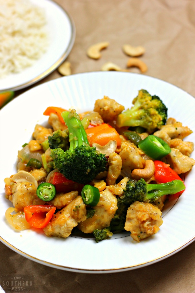 This light and easy spicy honey cashew chicken recipe is the best cashew recipe you will ever eat! It's better than takeout! www.ahotsouthernmess.com
