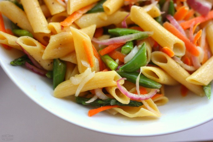 sweet and spicy summer garden vegetable pasta noodles and veggies