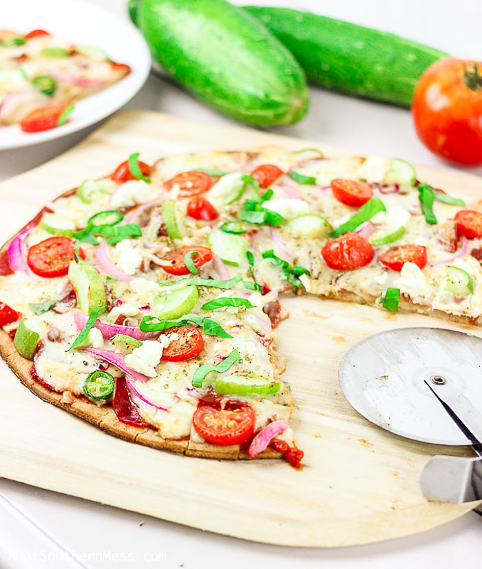 cucumber pizza! Gluten-free pizza with cucumber on pizza.