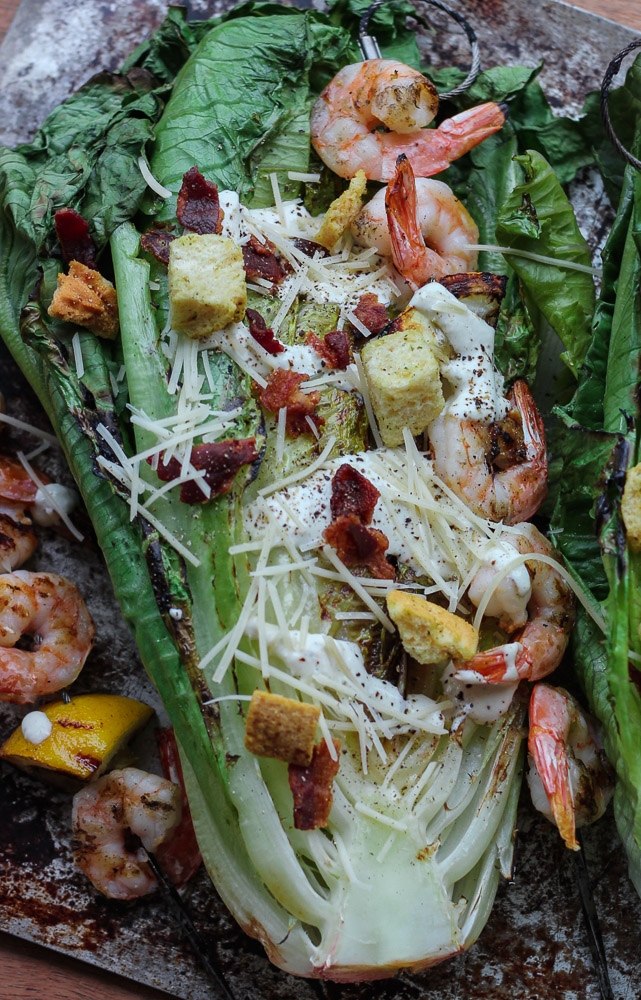 This Grilled Shrimp + Chicken Caesar Salad is so easy and tasty for a healthy summer meal! This recipe can be found at www.ahotsouthernmess.com