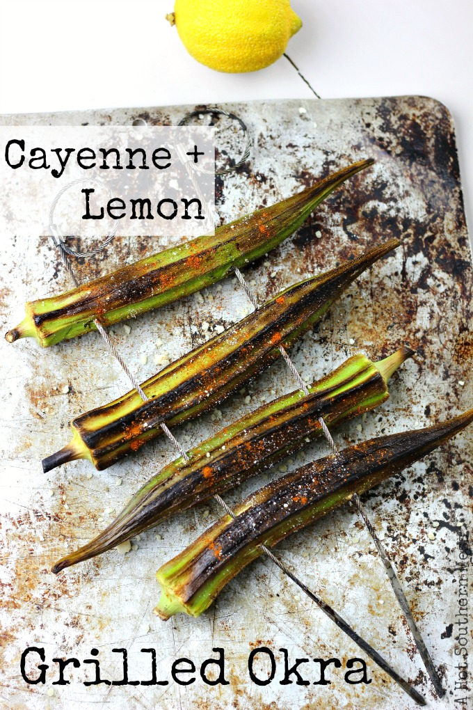 This easy and fast cayenne and lemon grilled okra recipe is a delicious side to any summer meal. This recipe is gluten-free and healthy too! www.ahotsouthernmess.com