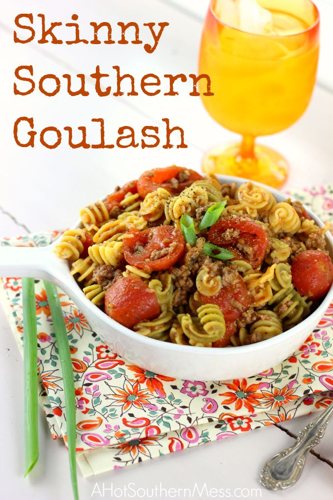 This Skinny Southern Goulash is quick and easy to make on a weeknight, with very few ingredients! it's also gluten-free and is spicy for a little kick in the rear! The recipe can be found at: www.ahotsouthernmess.com