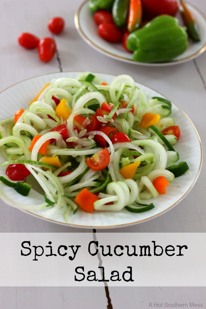 This spicy and refreshing cucumber salad is simple and quick to make for your next summer get together. This recipe can be found at www.AHotSouthernMess.com