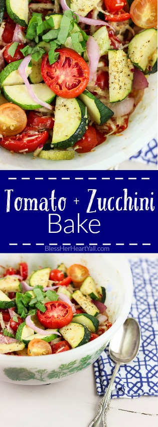 A super easy and quick baked recipe for Summer tomato zucchini bake! www.blessherheartyall.com
