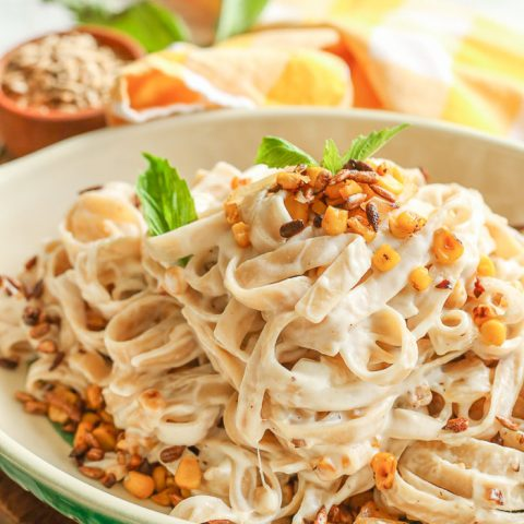 Sunflower Pasta with sweet corn and goat cheese sauce that is all gluten-free!