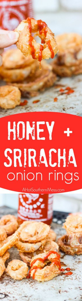 These Honey + Sriracha Onion Rings are crispy, crunchy, and fresh. The spicy Sriracha chili paste is added for some sizzle and fresh honey {straight from the hills of Tennessee y'all} is paired with it to tone down the fire a bit and add some sweet afterthoughts. These sweet and spicy onion rings are incredibly easy to make and take just minutes to find your plate! www.ahotsouthernmess.com