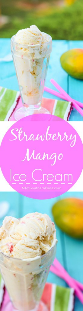 Fresh creamy strawberry mango ice cream with hand picked strawberry pieces and puréed mango folded in. Ten minutes of prep work and just a hand mixer is all that you need to prepare this light, sweet, refreshing treat for those long dog days of summer! www.ahotsouthernmess.com