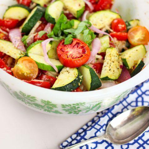 Summer Tomato + Zucchini Bake