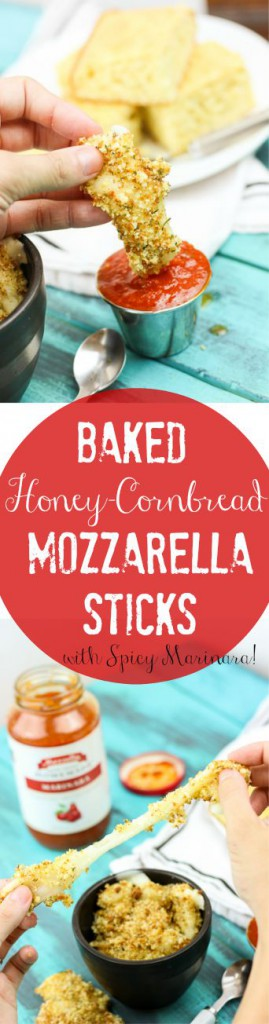 Baked Honey Cornbread Mozzarella Sticks (with spicy marinara) is such an easy and delicious twist on a party favorite! Perfect for birthday party finger food to tailgaiting! www.ahotsouthernmess.com