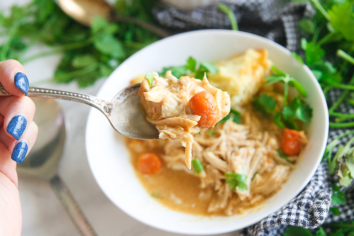gluten free chicken and dumplings made in the slow cooker or crock pot is the easiest soup you'll ever make!