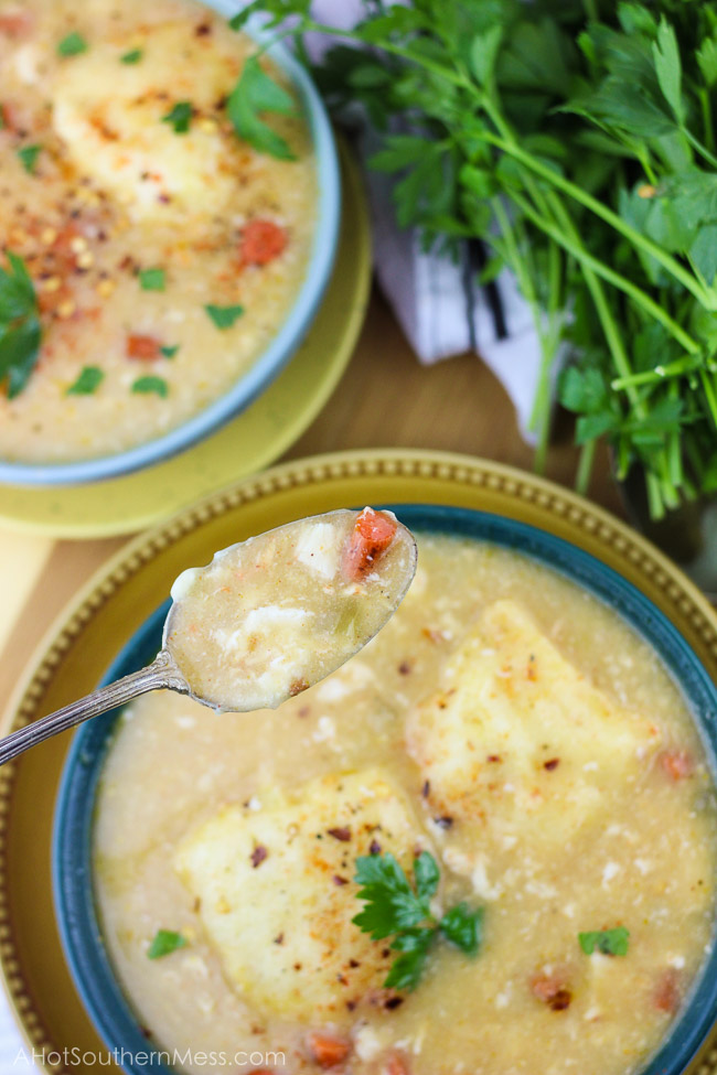 This spicy gluten-free slow cooker chicken and dumplings recipe is so easy to put together, you need just 5 minutes, and let simmer all day. The spicy taste {easily adjusted to your spice level!} pairs well with the sweet doughy gluten-free dumplings and tender bites of chicken and vegetables. Perfect for a busy fall weeknight that the whole family will love, just serve and enjoy! www.ahotsouthernmess.com
