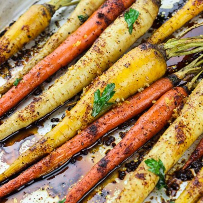 Spicy Honey Garlic Roasted Carrots