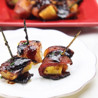 Bacon Wrapped Pineapple + Sriracha Lime Glaze