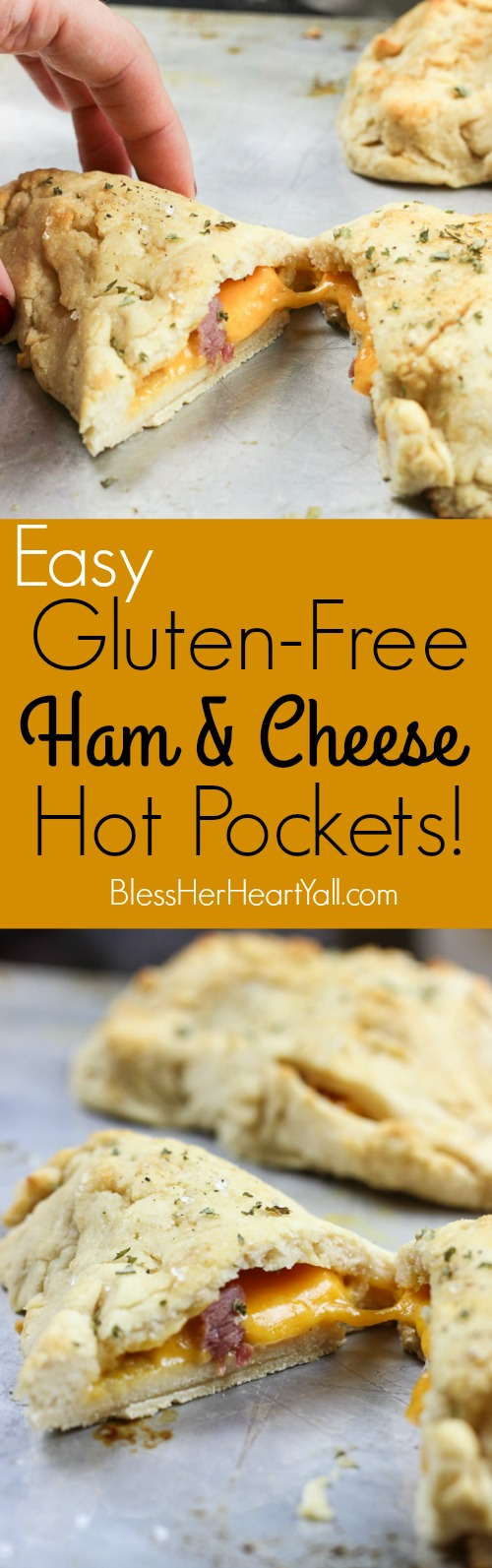 These gluten-free ham and cheese hot pockets (or calzones, or hand pies) are so easy and tasty!  Perfectly crispy pockets of smooth soft dough are stuffed with leftover Christmas ham leftovers and melty cheese, closed up, and brushed with an olive oil, honey, brown sugar, and garlic sauce.  It's the perfect tasty meal on-the-go and a great way to finish off those Christmas ham leftovers! www.blessherheartyall.com