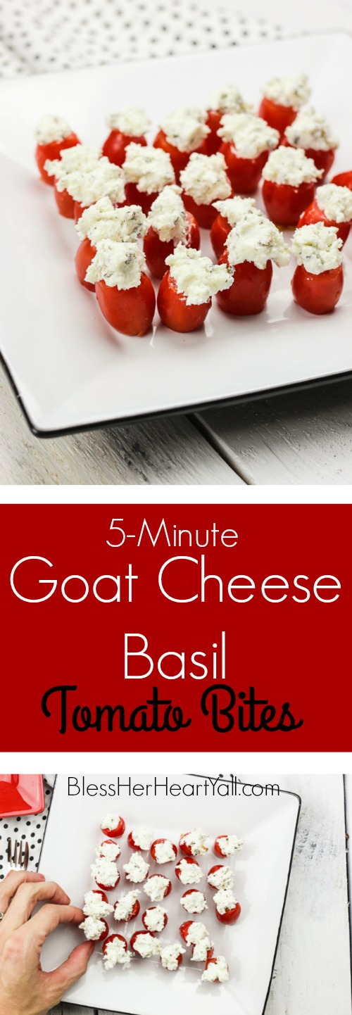 These simple goat cheese basil tomato bites are a 5-minute recipe full of creamy goat cheese, chopped basil, fresh grape tomatoes, and other spices. These perfect party appetizer bites fill your mouth with the most amazingly juicy, flavorful, addicting mouthfuls that will be gone in seconds! www.blessherheartyall.com