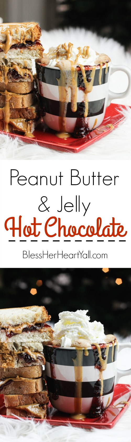 This peanut butter and jelly hot chocolate is a decadent and rich twist on the classic hot chocolate! Melting smooth chocolate with creamy peanut butter and sweetened with your favorite berry flavor, make this an instant cold-weathered favorite! www.blessherheartyall.com