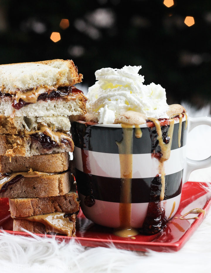 This peanut butter and jelly hot chocolate is a decadent and rich twist on the classic hot chocolate. Melting smooth chocolate with creamy peanut butter and sweetened with your favorite berry flavor, (and of course topped with whipped cream and other goodies!) make this an instant cold-weathered favorite. www.blessherheartyall.com