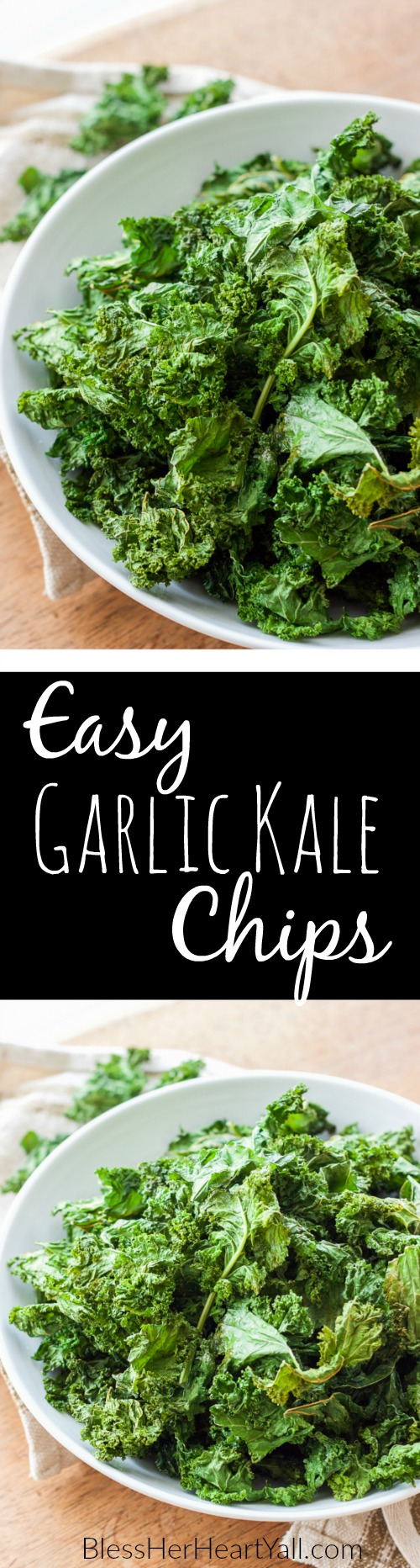 garlic kale chips | garlic, crunchy, healthy, and gluten-free! Made in minutes! OMG so good!