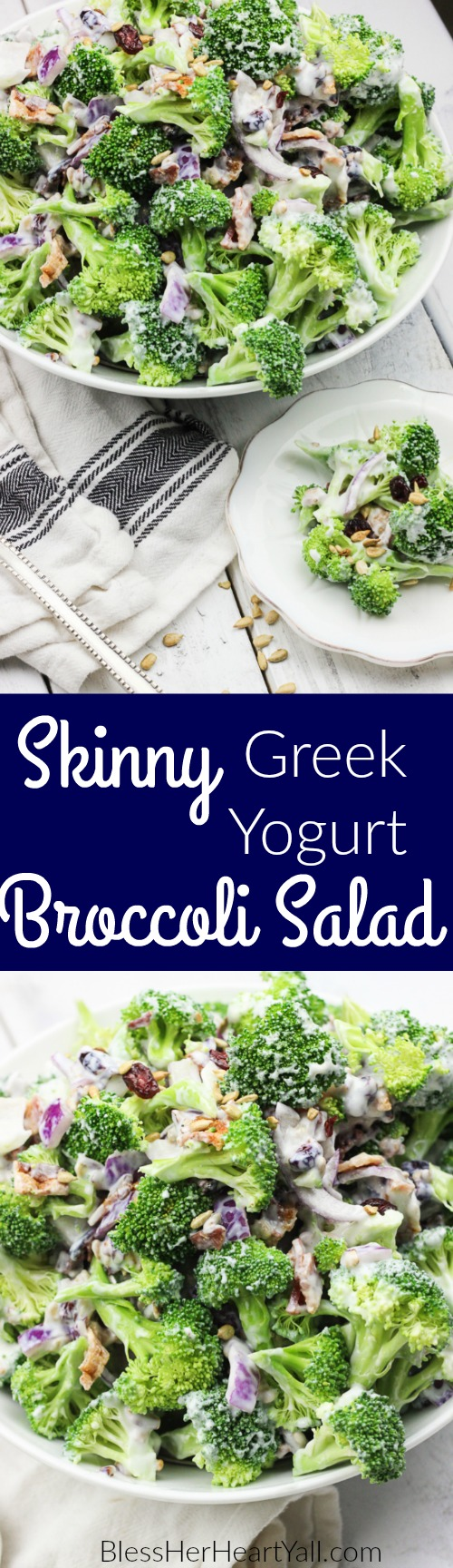 Skinny greek yogurt broccoli salad is a simple healthy veggie dish that combines fresh broccoli florets, dried cranberries, thick-cut bacon crumbles, and a sweet creamy dressing made with greek yogurt! It's the perfect healthy side dish forany meal! #skinny #healthy #broccolisalad #greekyogurt
