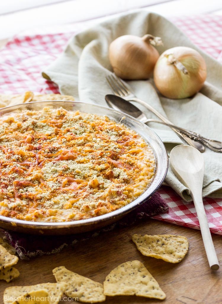 Yum! This southern seaside crab dip combines gluten-free heart-healthy crab with melty cheese, diced tomatoes and peppers, and sweet corn kernels for a delicious and easy dip that everyone loves!