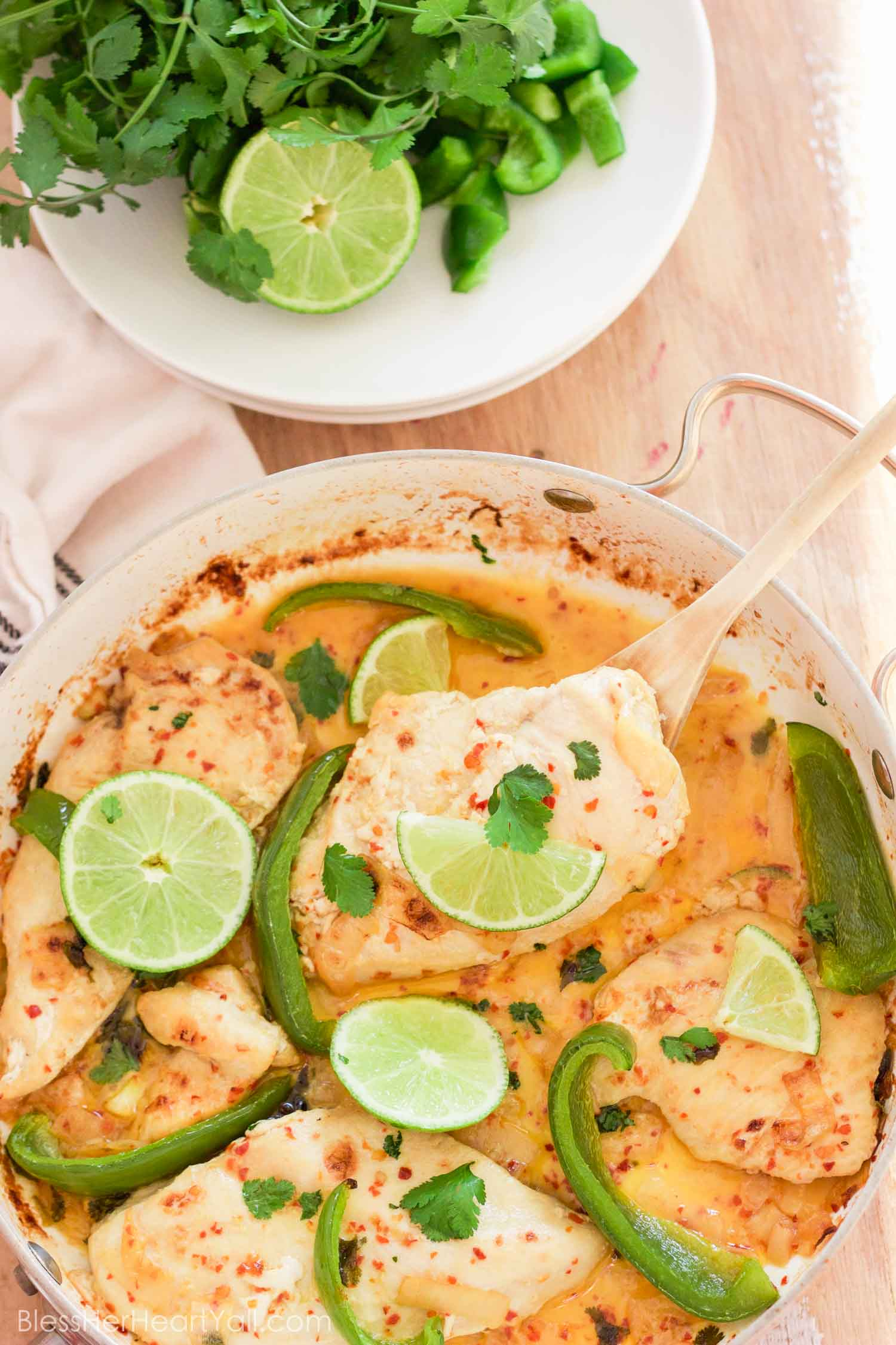 This gluten-free creamy cilantro lime chicken recipe combines the fresh flavors of cilantro, lime, and coconut, with the juiciness of baked chicken and veggies, perfect for warm weather! Your taste buds will think they were on a tropical island!