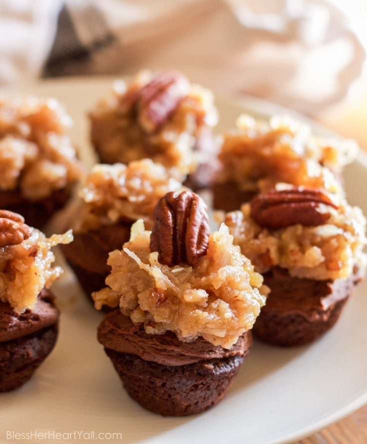 Gluten-Free German Chocolate Mini Cupcakes