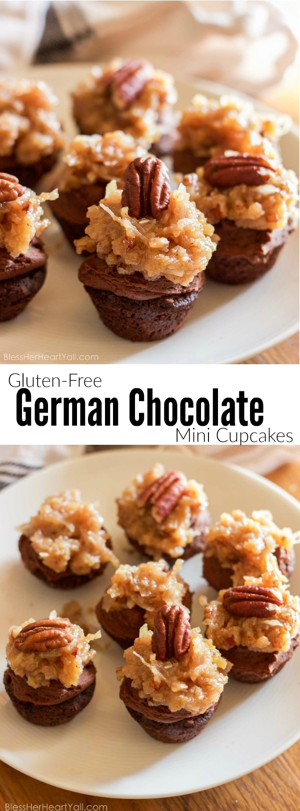 Gluten Free German Chocolate Mini Cupcakes Bless Her