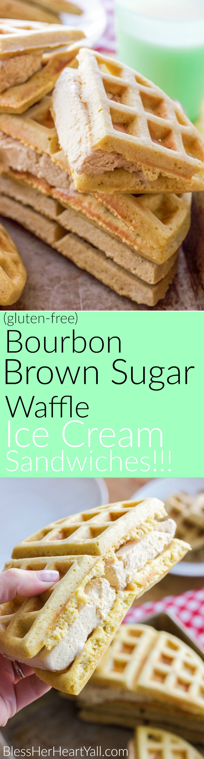 Bourbon brown sugar ice cream is placed between two fresh gluten-free brown sugar waffles for a fun gluten free adult version of the ice cream sandwich.