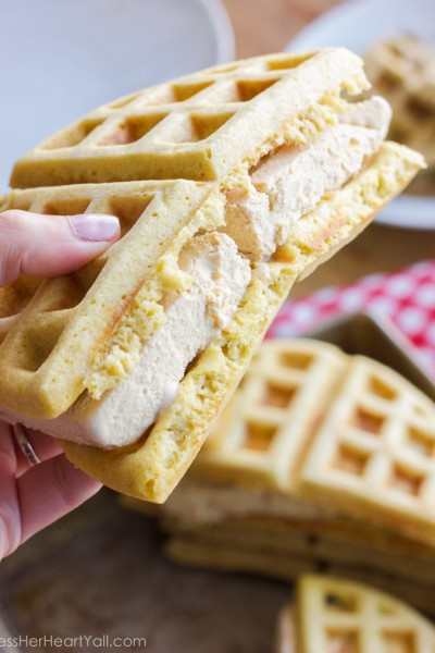 Bourbon Brown Sugar Ice Cream Waffle Sandwiches