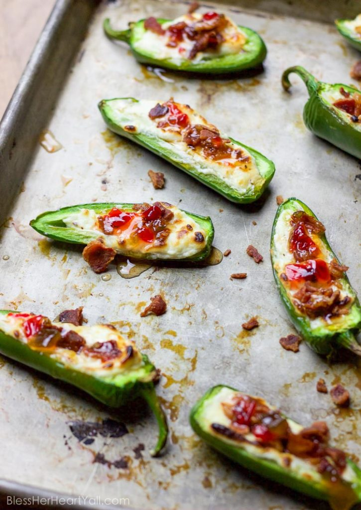 Bacon Goat Cheese Jalapeno Poppers - Bless Her Heart Y'all