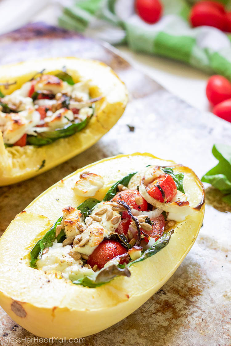 This basil goat cheese spaghetti squash combines creamy goat cheese, fresh basil and grape tomatoes, and of course a bit of garlic into this amazing and fresh dish that's just perfect if you are looking for something light, cheesy, and delicious!