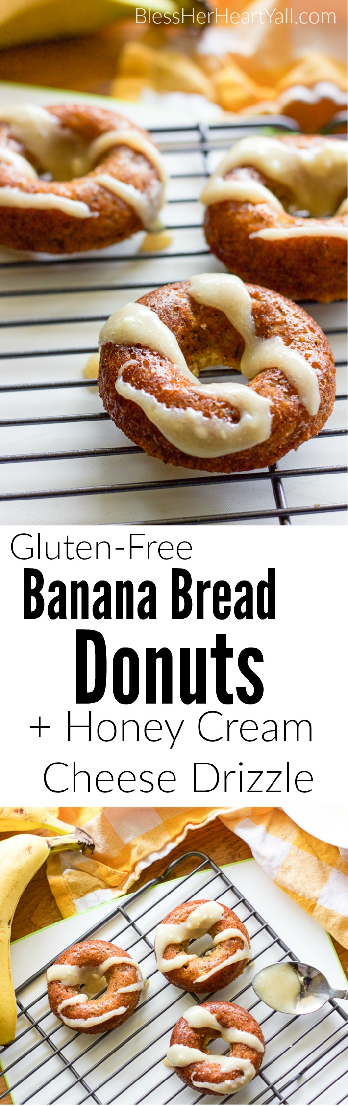 These gluten-free banana bread donuts are a great reason to wake up in the morning! Soft and moist banana bread is baked into fluffy donuts and then drizzled with an easy and quick honey cream cheese drizzle.