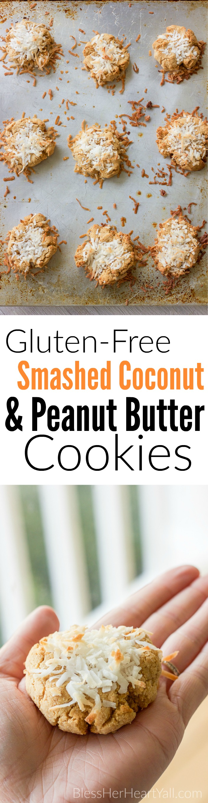 These quick gluten-free smashed coconut peanut butter cookies combine coconut flour, peanut butter, and fresh coconut flakes together for fluffy and sweet cookies in just minutes!