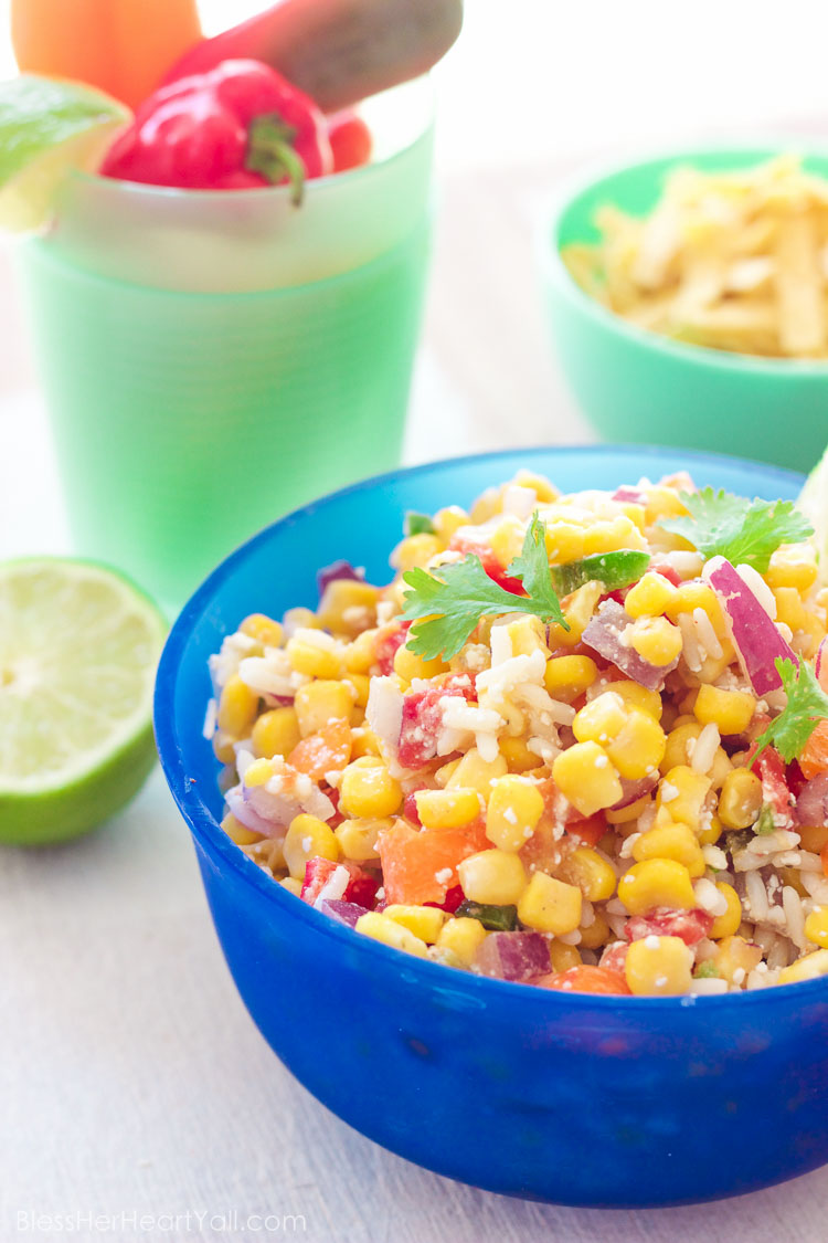 Easy Mexican Chopped Corn Salad - Bless Her Heart Y'all