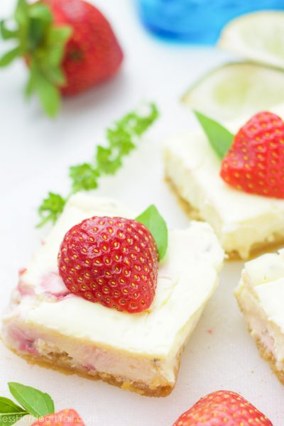 Gluten-Free Strawberry Basil Margarita Cheesecake Squares