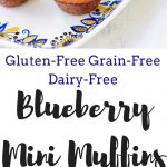These mini gluten-free blueberry muffins are also grain-free and dairy-free! Grab a few of these moist fluffy muffins for your busy mornings on-the-go!