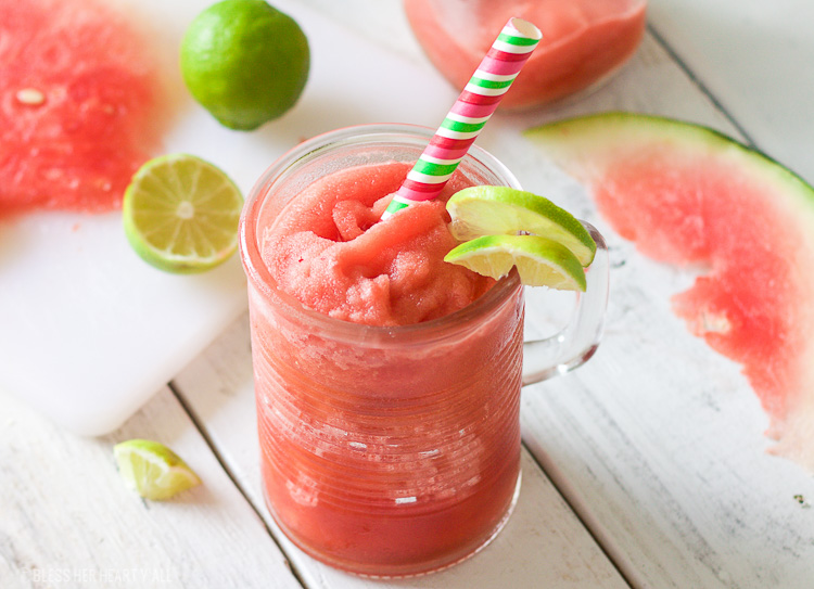 This frozen watermelon jalapeno bellini recipe is what any summer weekend calls for! Frozen watermelon is mixed with fresh jalapeno, lime juice, and a sprinkle of coconut sugar for a cool refreshing cocktail that's the perfect amount of sweet with a spicy finish!