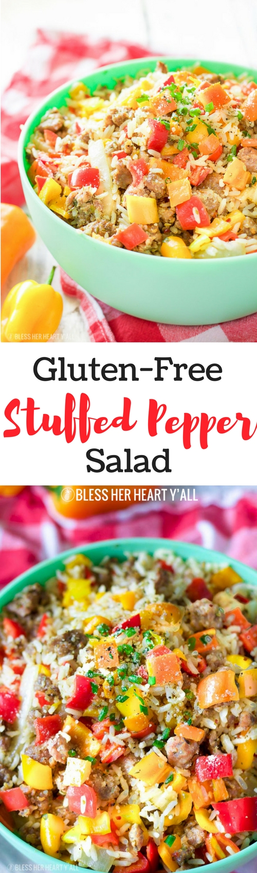 This gluten-free chopped stuffed pepper salad combines spicy sausage with fresh diced bell peppers and sweet onion, fluffy rice, and is seasoned with a combination of sizzling creole spices for one salad that is burst with flavor spoonful after spoonful!