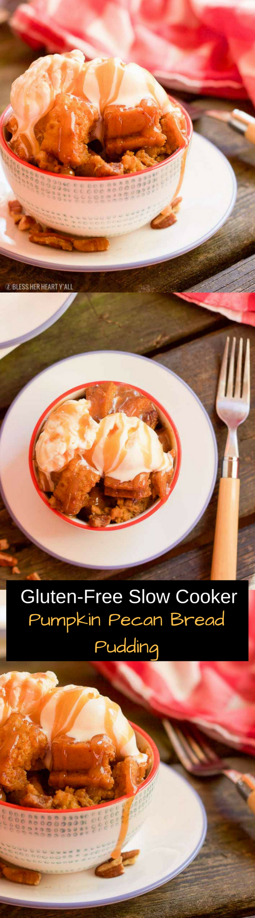 gluten free slow cooker pumpkin pecan bread pudding
