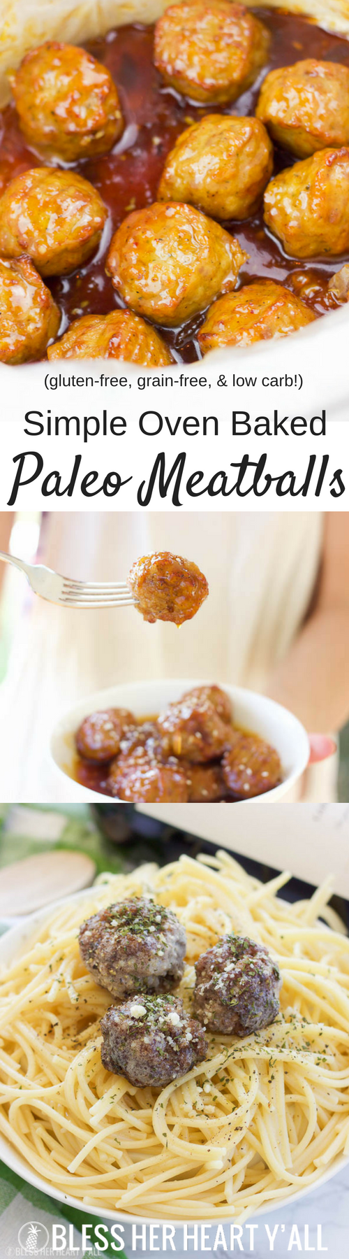 These simple oven baked paleo meatballs are the bomb! Okay but seriously, just combine some grass-fed beef with garlic, onion, egg, liquid aminos, and a little bit of salt and pepper. Roll them up and toss them in the oven for a few minutes and your family will have a whole mess of juicy paleo, gluten-free, and grain-free meatballs!