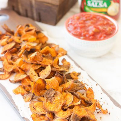 Spicy Garlic Sweet Potato Chips